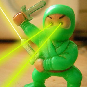 Ninja minifigure with faux eye-lasers.
