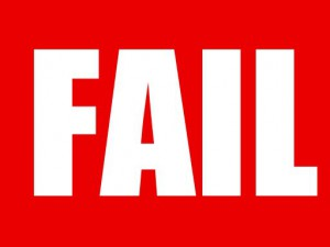 Fail written in white on red.