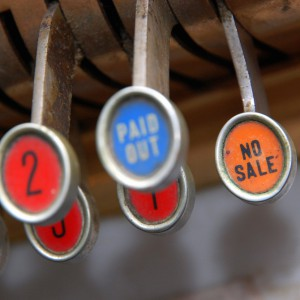 Old school cash register image with 'Paid Out' and 'No Sale' buttons