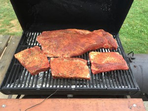 beef brisket on a smoker