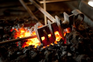 Cattle Brand on hot coals
